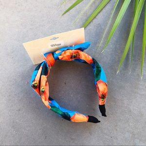 CARA Blue & Orange Floral Faux Satin Bow Headband